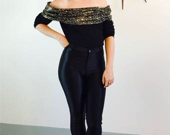 Off the Shoulder top, Black Crop Top, Vintage 80s blouse, Metallic Gold Paint Splatter, Knit cropped top, Sexy Tight Fitted, No shoulder top