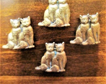 Cat Button Covers Brass Set of Four Blouse Shirt Accessory Cat Lover Kitty Feline Vintage Gift Idea