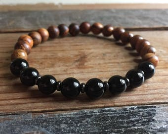 Stackable Mala Inspired Spiritual Junkies Natural Agarwood + Black Onyx Yoga and Meditation Bracelet