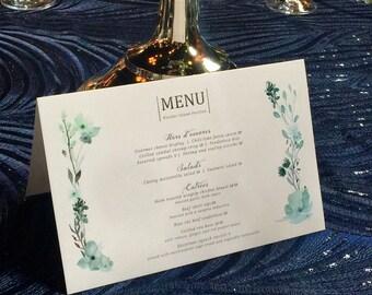 """Floral Design Menu - Watercolor Menu - Wedding Menu - Dinner Menu - Recepion Menu - Tented Dinner Menus - 5.5"""" x 8.5"""" - Personalized Menu"""