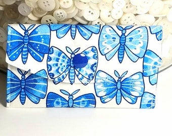 Gift Card Holder Gift Card Case Business Card Holder Blue Butterflies
