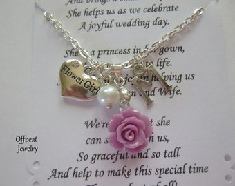 Flower Girl Necklace, Jr. Bridesmaid Necklace, Sister Necklace, Choose a Charm, Bridesmaid Jewelry, Aunt Charm & Rose Necklace
