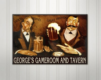 """Large Personalized Beer Sign, Great Friends Bar and Grill Pub, Man Cave Bar Sign, Custom Pub Sign, 18"""" x 24"""""""