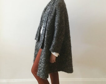 1950s charcoal and tan wool boucle winter coat