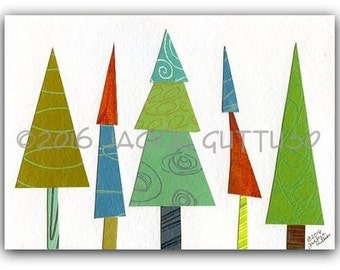 """Original tree collage, 5 x 7"""", Whimsical tree art, Acrylic tree painting, Colorful woodland nursery wall art, Winter cabin decor, Forest art"""