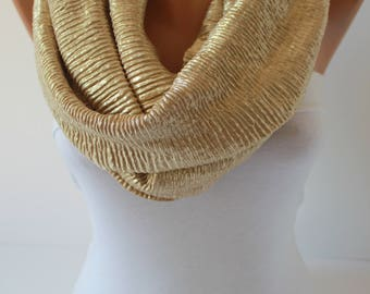 Gold Infinity scarf dore gold color Scarf, Circle scarf, Loop scarf, Christmas Scarf scarves fashion women accessories gift for her