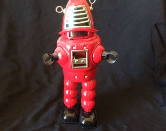 Vintage Toy, Tin Toy, Wind Up Toy, Action Robot, Walking Robot, Sparkling Robot, Made in Japan - 1970