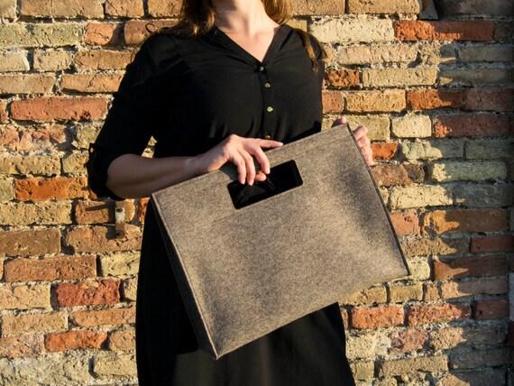 Wool Felt HANDBAG / grey bag / grey handbag / wool felt bag / minimalist bag / made in Italy