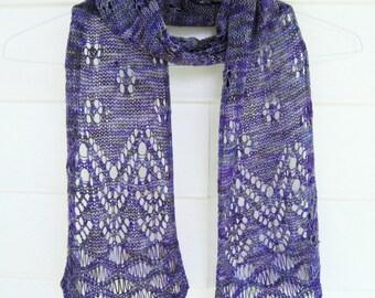 Purple scarf, Lace knit wool scarf, handknit purple scarf, lace scarf, lightweight scarf