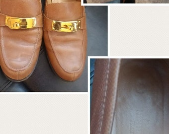 Hermes Irving Loafers in Tan with Paladin Mini dog buckle 36 .5