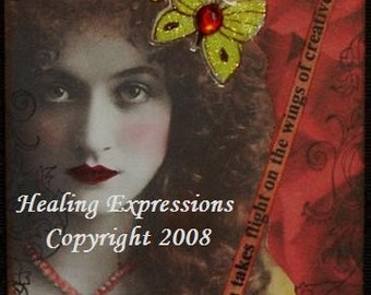 SOUL WISDOM altered art vintage collage inspirational ACEO ATC PRINT