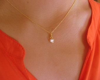 Dainty Solitaire Necklace - Little necklace with zirconia pendant - pendant necklace - bride necklace - charm necklace - solitaire necklace