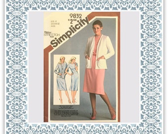 Simplicity 9832 (1980) Misses' slim-fitting dress and unlined cardigan-jacket - Vintage Uncut Sewing Pattern