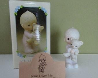 Jesus Loves Me-1980,MINIATURE Precious Moments #E-9278,Boy with teddybear,Enesco collectibles,Religious statue,porcelain figurine