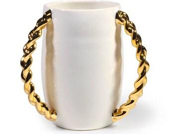 White and Gold Washing Cup, 22k Gold Braided Handles, Modern Judaica, Wedding gift, Netilat Yadayim