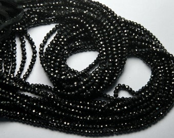 2x14 inch Strand,BLACK SPINEL Machine Cut Quality,Finest Quality Micro Faceted Rondelles,3mm
