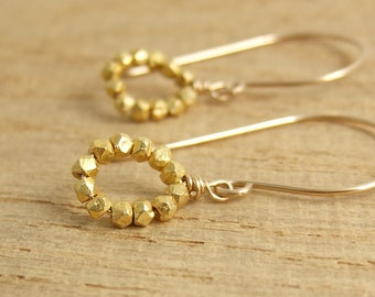 Earrings with Gold Vermeil Beads Wire Wrapped with 14k Gold Filled Wire GHE-34