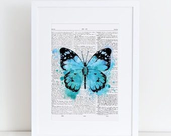 Dictionary page Butterfly, Blue, watercolor, A4, watercolour, butterfly print, print at home, digital download, vintage, dictionary page,art