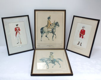 Vintage Framed Prints and Paintings Civil War Redcoats Belgium Cavalry Artificer Soldier Horseman Gift for Him