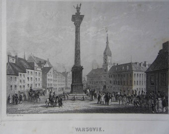 Engraving. Warsaw. Poland. Published by while in Paris (France). The 19th century engraving (1819-1859)