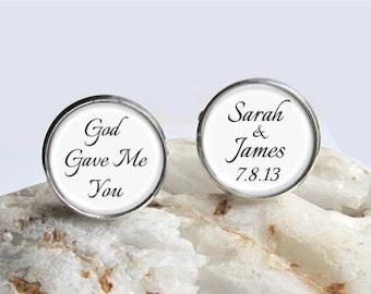 God Gave Me You, Wedding Cufflinks, Personalized Groom Cufflinks, Wedding Date, Customized