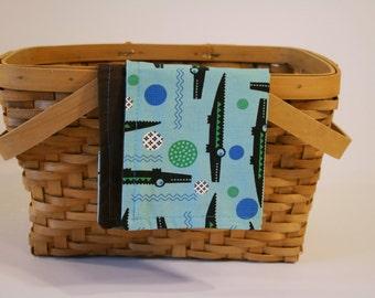 Alligator Cloth napkin for kids | Snack mat - Blue and Brown