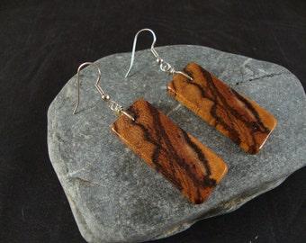 Wooden Dangle Earrings - Zebra Wood - Natural and Eco Friendly Jewelry- Rectangular