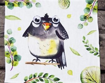 Cute Crow Linen Napkin. Kids Napkin. Flax Napkin