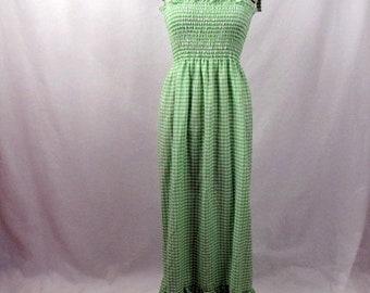 Vintage / Summer Dress / Green Gingham / Maxi / Small / Elastic Bodice / Flounce / Handmade / Boho