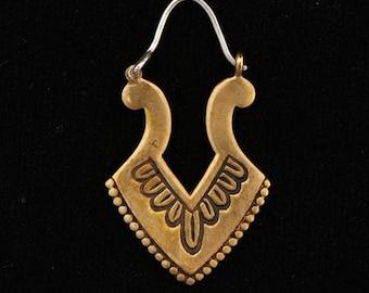 Brass Earrings - Brass Hoops - Gypsy Earrings - Tribal Earrings - Ethnic Earrings - Indian Earrings - Tribal Hoops - Indian Hoops