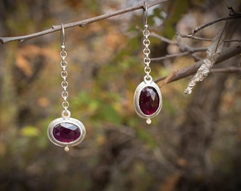Garnet Earrings, Asymmetrical Earrings, Mixed Metal Earrings, Rose Cut Garnet, Garnet Drop Earrings, Garnet Dangle Earring, Silver and Gold