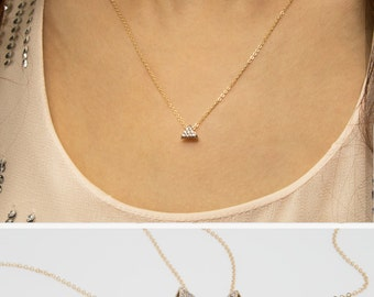 Triangle Diamond Necklace, 14k Gold Filled Chain, Dainty Gold Necklace, minimal Delicate Necklace with CZ stones • NPD-030