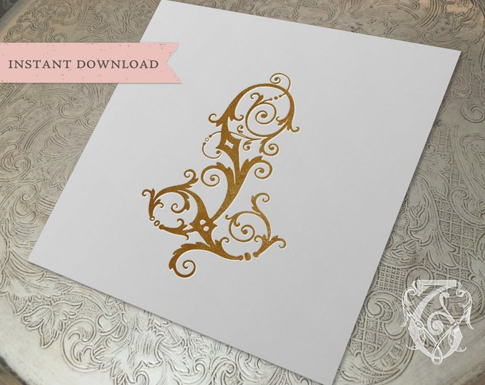 Vintage Wedding Crest Initial L Digital Download