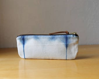 Natural Indigo Zipper Pouch // Shibori no. 4