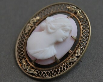 Edwardian Pink Cameo Brooch / Signed