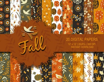 Fall digital paper, Thanksgiving paper, flower digital paper, orange, brown, green digital paper, Autumn printable, Seamless patterns