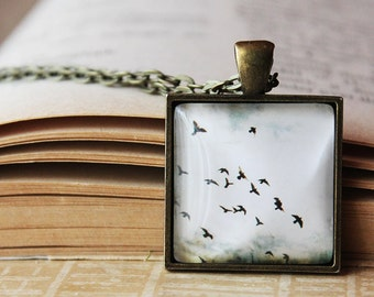 Flying Birds Pendant- Freedom necklace - Glass Dome Pendant