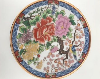 Chinoiserie Japanese style ceramic decorative plate, gold edges exotic bird and flora.