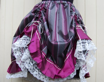 Steampunk Skirt in Grey and Pink Stripped Taffeta