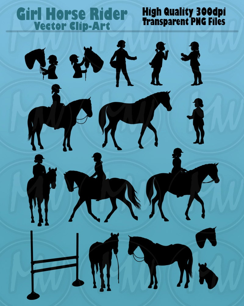 Horse Rider Silhouettes Girl Equestrian Clipart