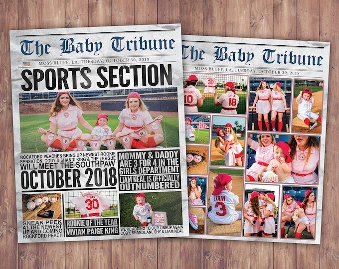 NEWSPAPER pregnancy announcement, birth announcement, sports, football, baby shower, baseball baby announcement