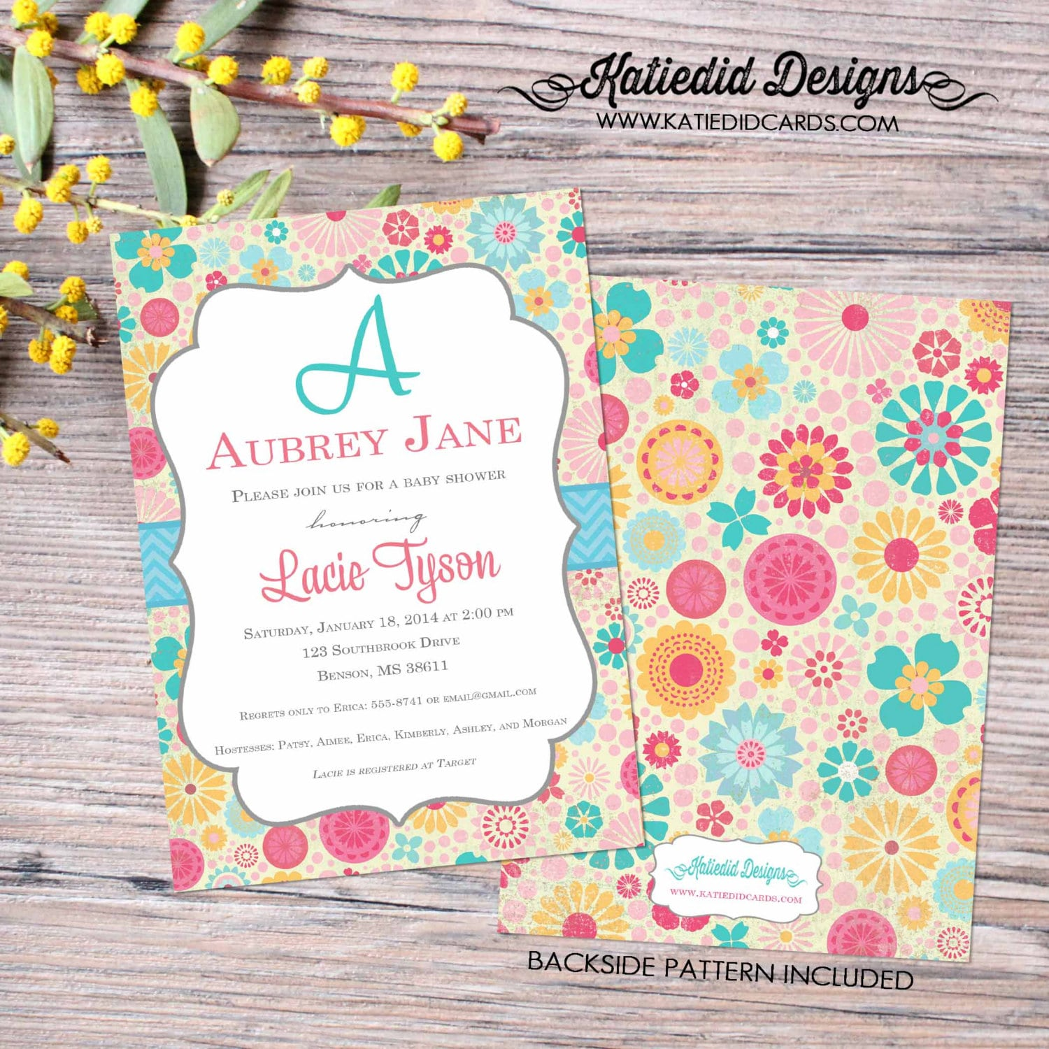 Floral baby girl sprinkle invitation sip and see invitation girl ...