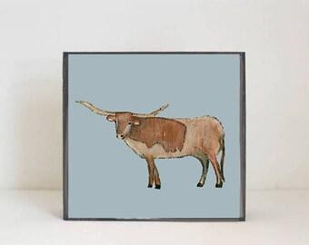 longhorn nursery art- baby boy nursery art-southwestern nursery decor, longhorn nursery prints, nursery decor-  cow art- redtilestudio