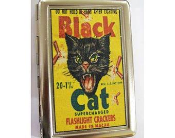 retro black cat metal wallet vintage advertising cigarette ID case rockabilly kitsch