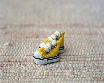 Yellow keds for dolls. Smallest shoes for dolls