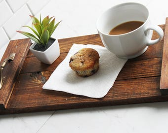 Serving Tray, Rustic, Farm House, Wood, Homemade, Wooden Tray, Tray with Handles, Breakfast