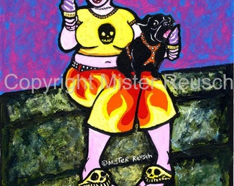 Black Pug Eating Soft-Serv Original Painting by Mister Reusch