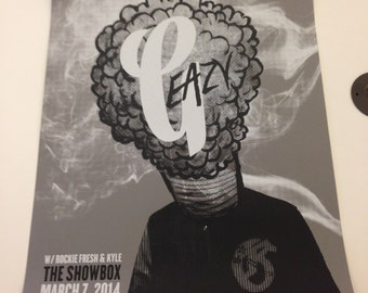 G-Eazy silkscreened concert poster, Showbox Seattle 04.07.14, Signed and Numbered edition of 15, G Eazy, hip hop print, limited edition