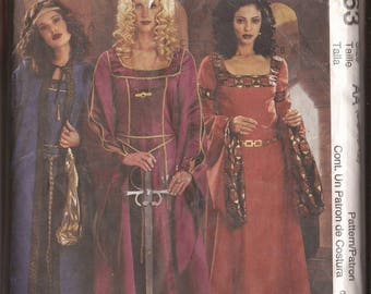 McCalls 3663 Medieval/Renaissance Costume in 3 Styles and Cape. Sizes AA (6,8,10,12) EE (14-16-18-20). 2000