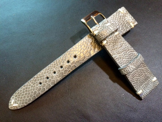 Real leather watch band, Vintage shiny grey Ostrich leg Leather  Strap, handmade watch strap, 18mm/19mm/20mm lug, 16mm buckle